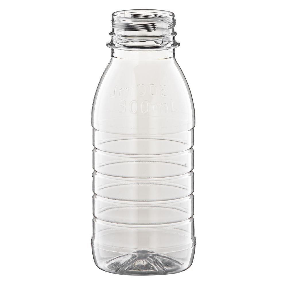 300ml Clear PET Round Juice Bottle With 38mm Petloc Neck