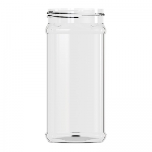 1L Clear PET Square Jar With 83mm Screw Neck