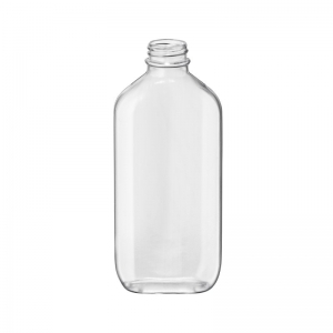 200ml Clear PVC Oval Bottle With 24mm 400 Screw Neck