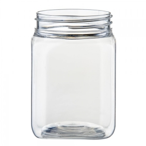 200ml Clear PET Square Jar With 53mm TT Screw Neck