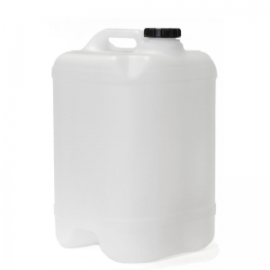 25L Natural HDPE Drilled & Bunged Cube With 58mm Screw Neck
