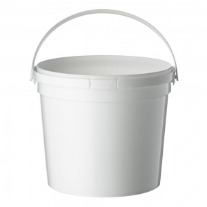 2.3L White PP Pail With TE Push On Neck