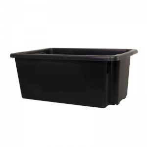 52L Black Recycled PP Crate 645X413X276mm