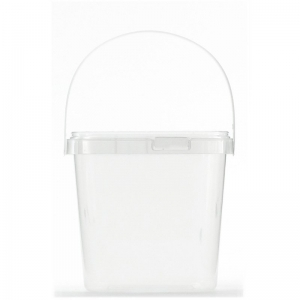1L Clear PP Square Pail + Lid With TE Push On Neck