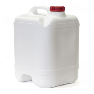 20L White HDPE Drilled & Bunged Cube With 58mm Red TE Cap