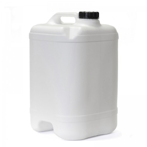 25L White HDPE Cube With Tap & 58mm Black Te Cap With 58mm TE Screw Neck