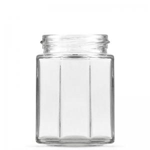 190ml Flint Glass Octagonal Glass Jar With 58mm Twist Neck