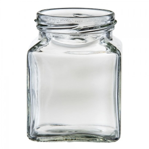195ml Glass Square Jar With 58mm Twist Neck