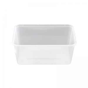 1L Natural PP Rectangular Food Container With Push On Neck