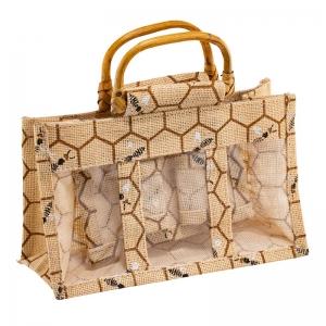 Honey Design Jute Bag With Wooden Handles (3 Jars)