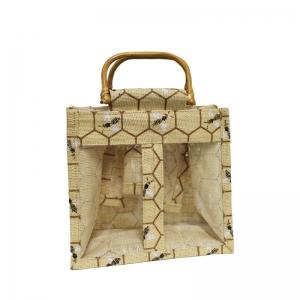 Bee Design Jute Bag With Wodden Handles (2 Jars)