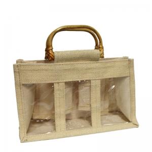 Beige Jute Bag With Wooden Handles (3 Jars)