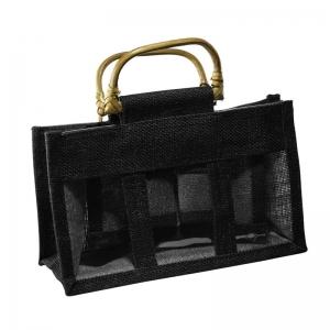 Black Jute Bag With Wooden Handles (3 Jars)