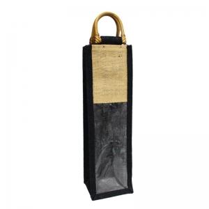 Black Jute Bag for Wine Bottles With Wooden Handles (Single)
