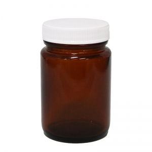 100g Amber Glass Round Tall Jar P/Pack With 48mm 400 White PP Screw Cap