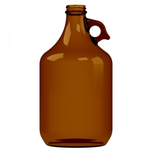 2L Amber Glass Growler Bottle With 38mm 400 Screw Neck