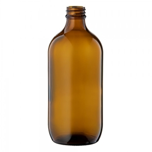 500ml Amber Glass Round Bottle With 28mm TT Screw Neck